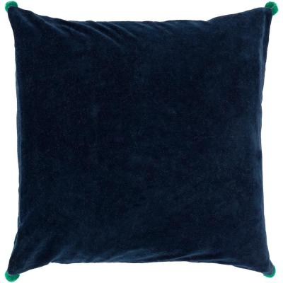 Zorrilla Navy Solid Polyester 20 in. x 20 in. Throw Pillow