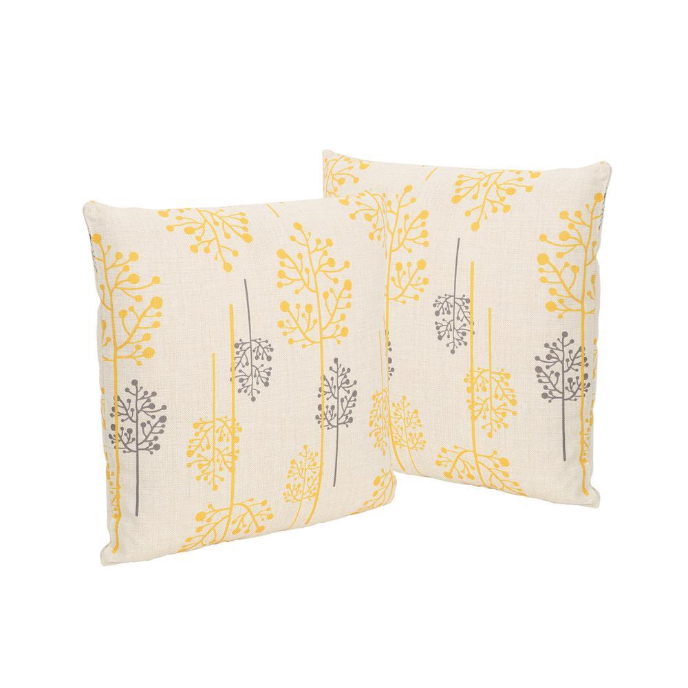 Sagres Orange and Grey Square Outdoor Throw Pillows (Set of 2)