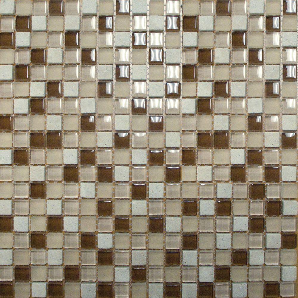 MSI Caramel Cream 12 in. x 12 in. x 8mm Glass and Stone Mesh-Mounted Mosaic Tile