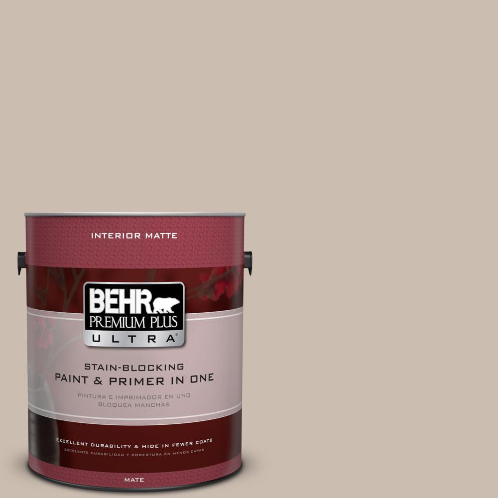 BEHR Premium Plus Ultra 1 gal. #PPU5-13 Creamy Mushroom Flat/Matte Interior Paint