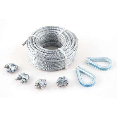1/8 in. x 50 ft. Galvanized Aircraft Cable Kit with Clips and Thimbles 7x19 Construction