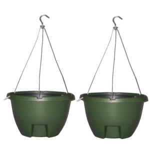 The Weekender 16 inch Forrest Green Polypropylene Hanging Self-Watering Planter (2-Pack) by