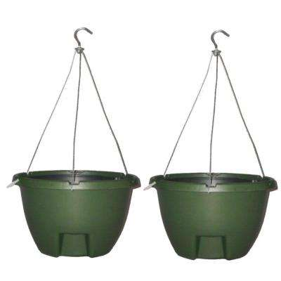 The Weekender 16 in. Forrest Green Polypropylene Hanging Self-Watering Planter (2-Pack)