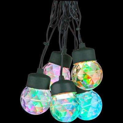 8-Light Red Green Blue Round Light String with Clips Set
