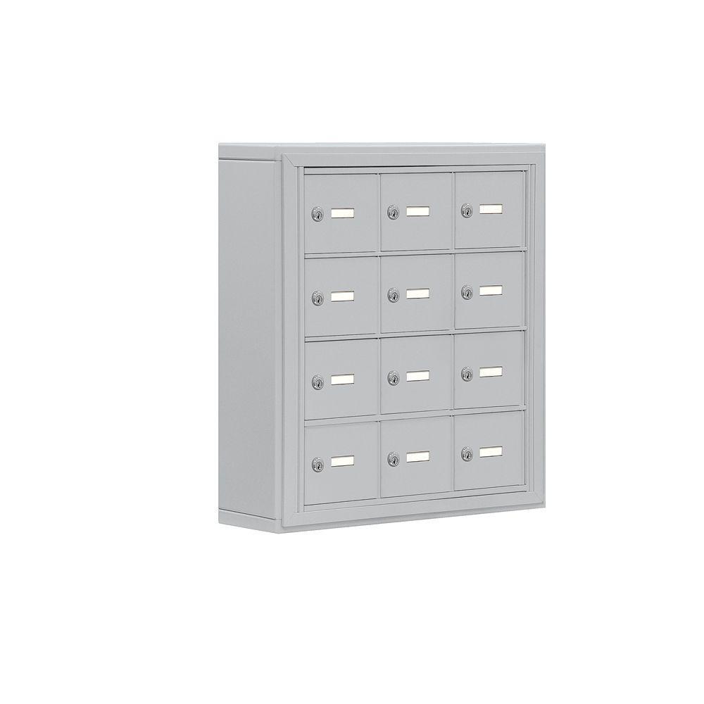 19000 Series 24 in. W x 25.5 in. H x 6.25 in. D 12 A Doors S-Mount Keyed Locks Cell Phone Locker in Aluminum