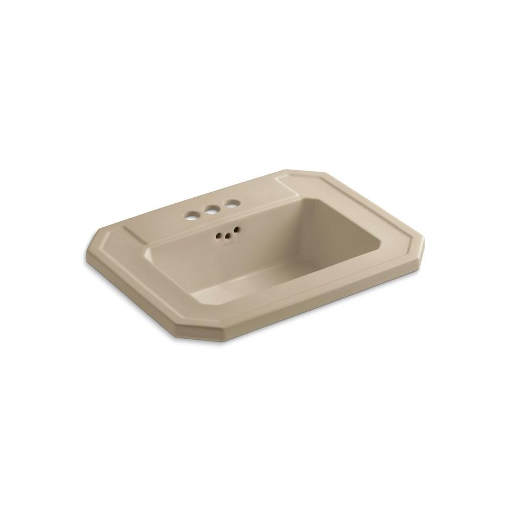 KOHLER Kathryn Drop-In Vitreous China Bathroom Sink in Mexican Sand with Overflow Drain