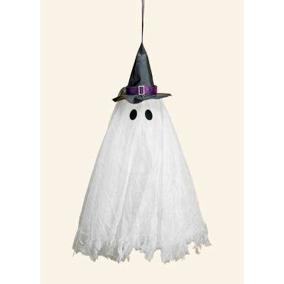 31 in. Halloween LED Multicolor Flashing Hanging Light Up Ghost with Sound