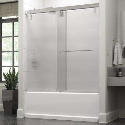 Portman 60 in. x 59-1/4 in. Semi-Frameless Mod Sliding Bathtub Door in Chrome with 3/8 in. (10mm) Rain Glass