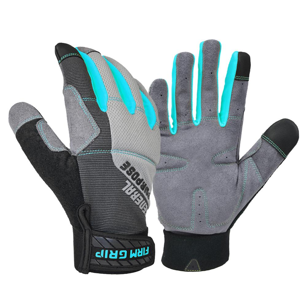 Firm Grip General Purpose Women's Medium Gray Synthetic Leather Glove