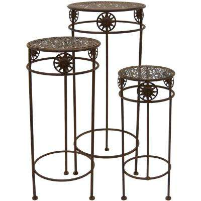 Rust Round Plant Stand (Set of 3)