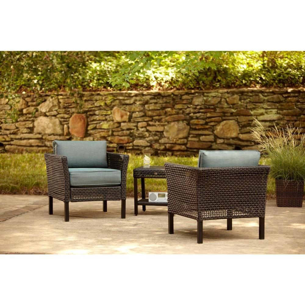 Hampton Bay Fenton 3 Piece Patio Chat Set With Pea And Java Cushion