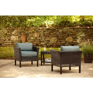 fenton 3 piece patio chat set with peacock and java patio cushion