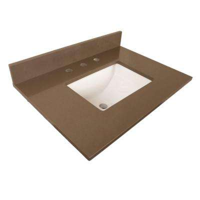 Norco 30 in. W x 22 in. D Quartz Single Basin Vanity Top in Taupe with White Basin