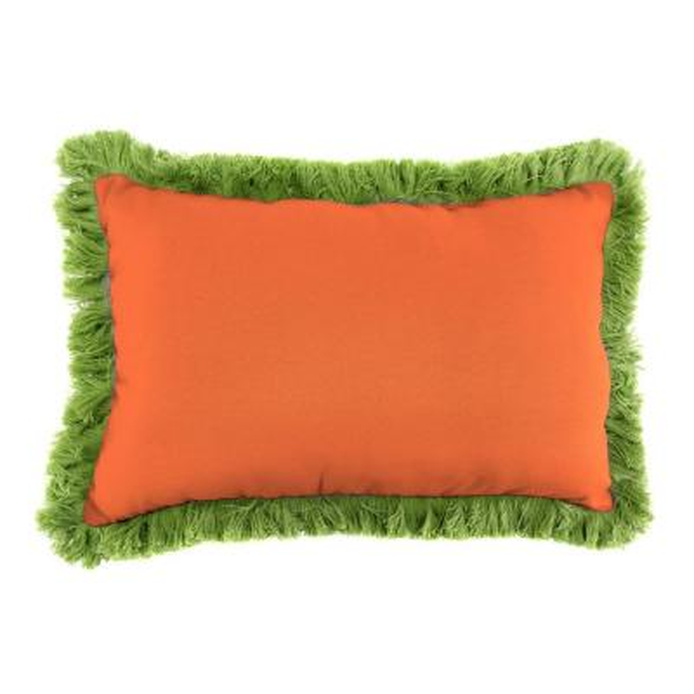 Sunbrella 9 in. x 22 in. Canvas Tuscan Lumbar Outdoor Pillow with Gingko Fringe