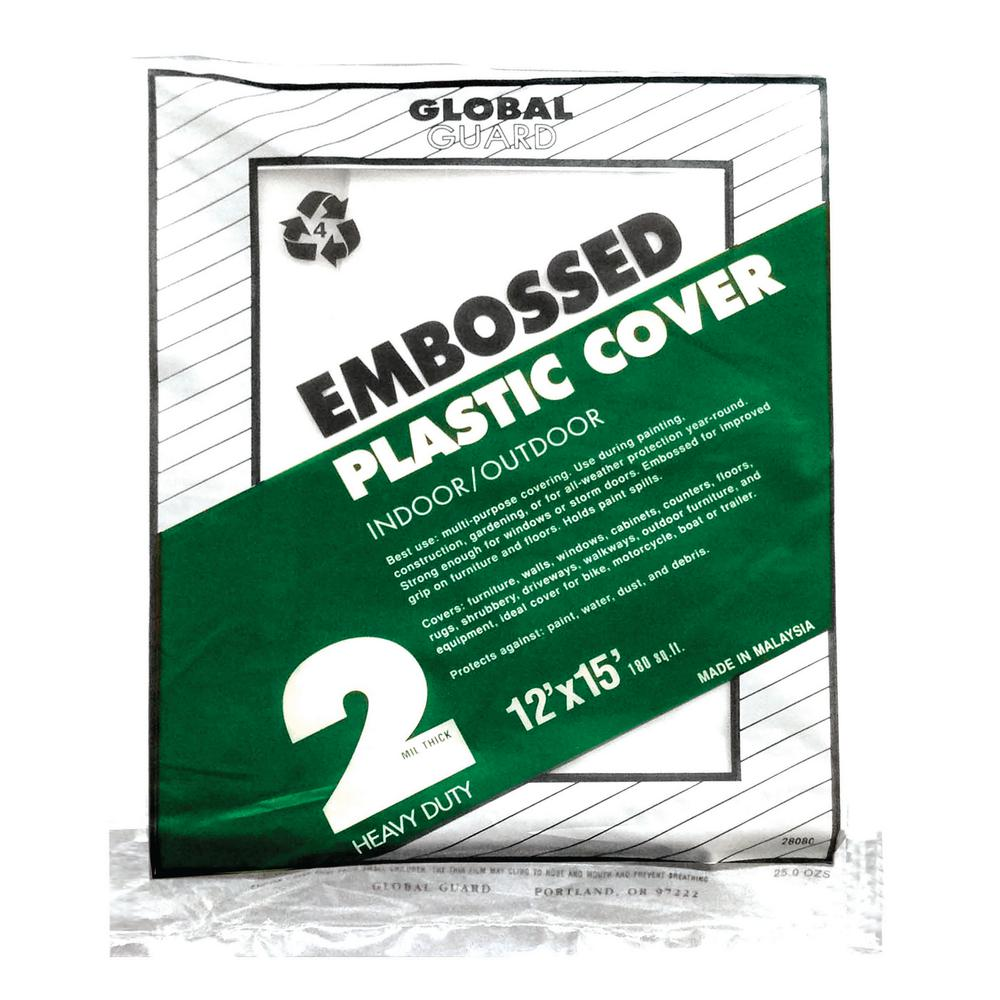 Premier 12 ft. x 15 ft. 2 mil Embossed Plastic Drop Cloth (24-Pack)