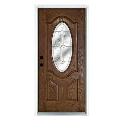 36 in. x 80 in. Flores Medium Oak Right-Hand Inswing 3/4 Oval Lite Decorative Fiberglass Prehung Front Door