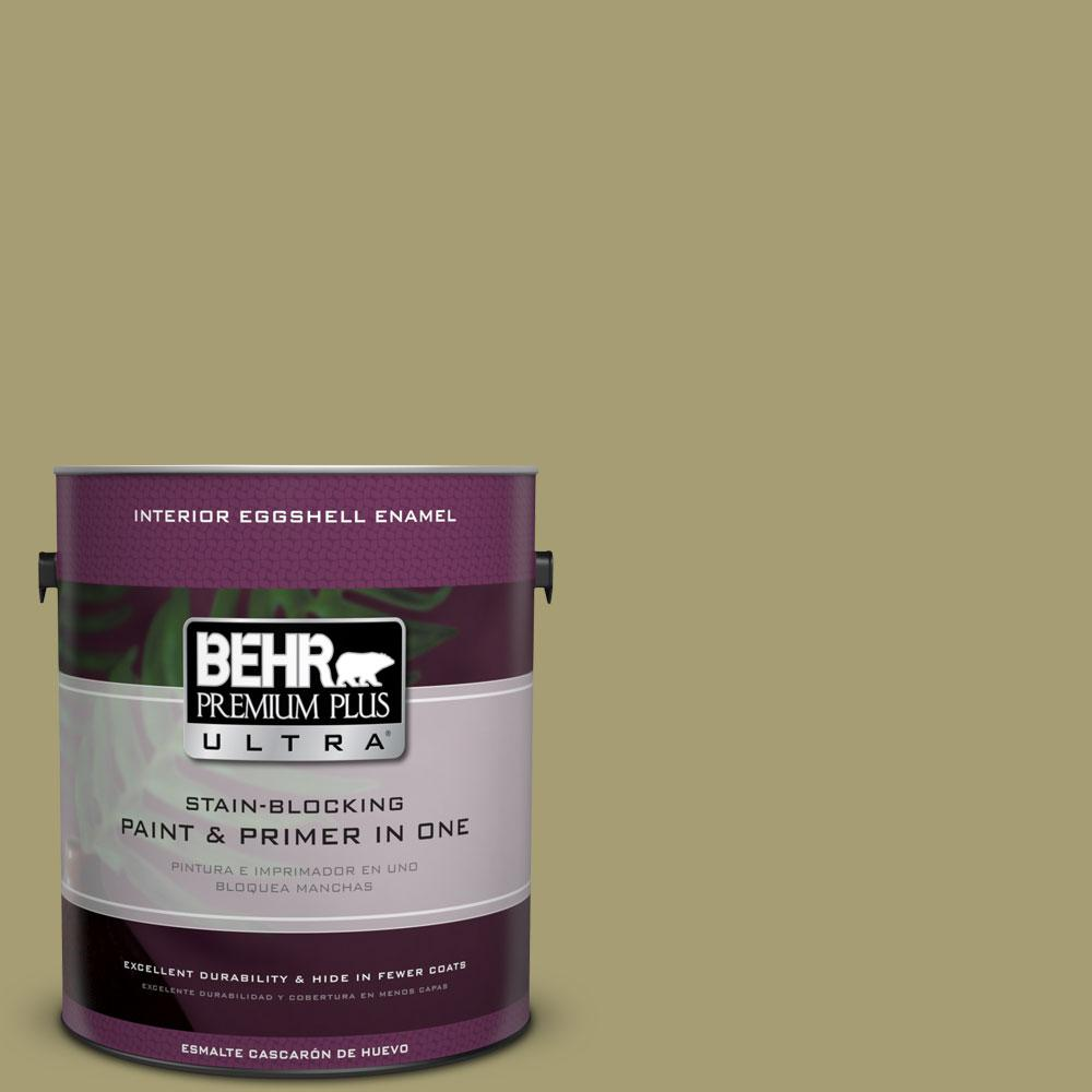 BEHR Premium Plus Ultra 1-Gal. #PPU9-4 Fresh Olive Eggshell Enamel Interior Paint