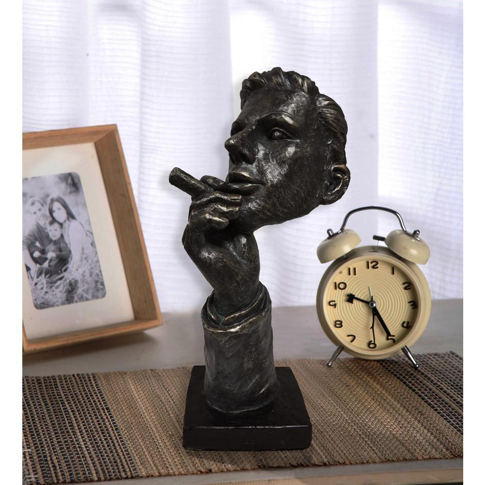 Man with Cigar Patina Black Statue Sculpture