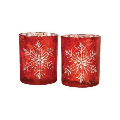Snowflake 4 in. Antique Red Art Glass Candle Holders (Set of 2)