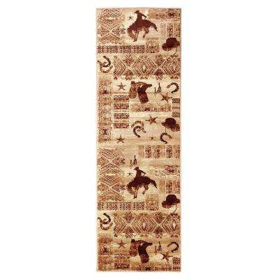 Lodge Design Boots and Cowboy Beige 2 ft. 1.75 in. x 7 ft. 1.75 in. Runner