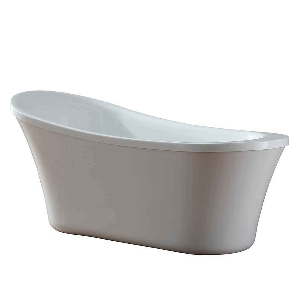 OVE Decors Ruby 65 In. Acrylic Flatbottom Freestanding Bathtub In White