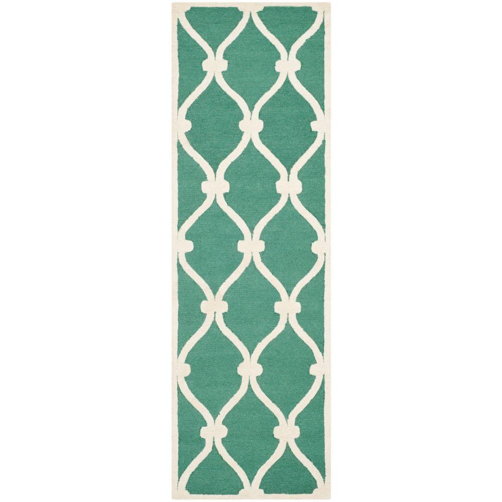 Safavieh Cambridge Teal/Ivory 2 ft. 6 in. x 12 ft. Runner