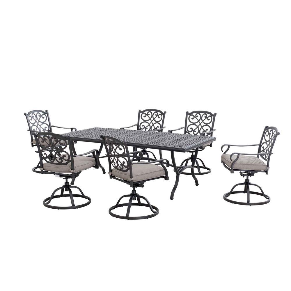 Roosevelt 7-Piece Aluminum Rectangular Outdoor Dining Set with Gray Cushions