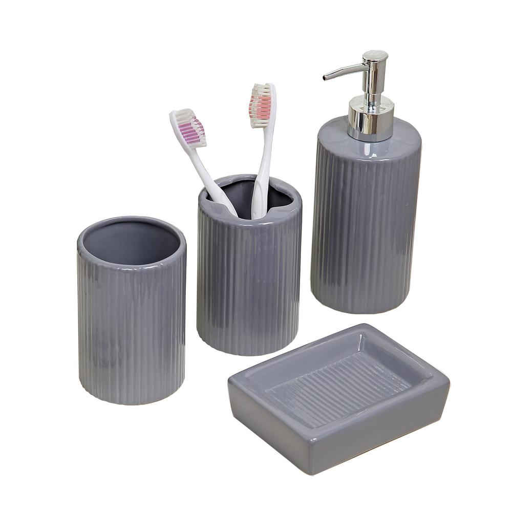 . Indecor Home 4 Piece Bath Accessory Set in Grey