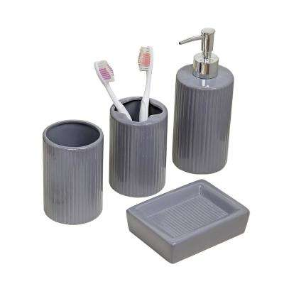 4-Piece Bath Accessory Set in Grey