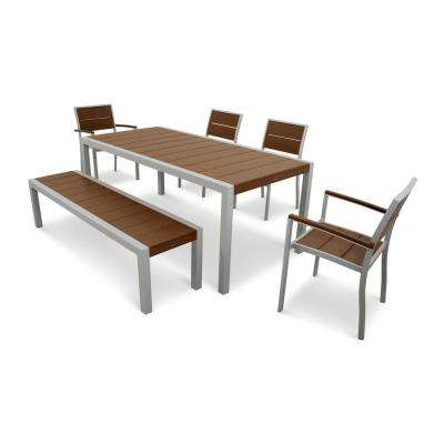 Surf City Textured Silver 6-Piece Plastic Outdoor Patio Dining Set with Tree House Slats