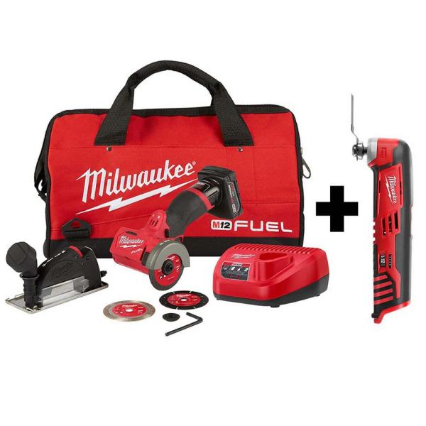 M12 FUEL 12-Volt 3 in. Lithium-Ion Brushless Cordless Cut Off Saw Kit with M12 Oscillating Multi-Tool