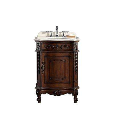 26.20 in. W x 21 in. D Vanity in Dark Cherry with Marble Vanity Top in Cream with White Basin