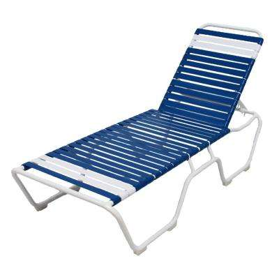 Marco Island White Commercial Grade Aluminum Vinyl Strap Outdoor Chaise Lounge in Blue and White (2-Pack)