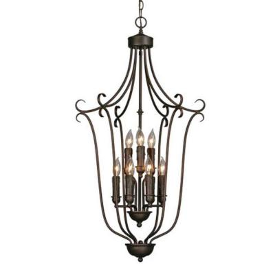 Maddox Collection 9-Light Rubbed Bronze 2-Tier Chandelier