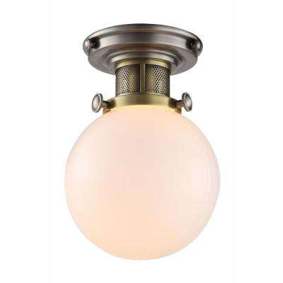 Santos 1-Light Vintage Nickel and Burnished Brass Flush Mount