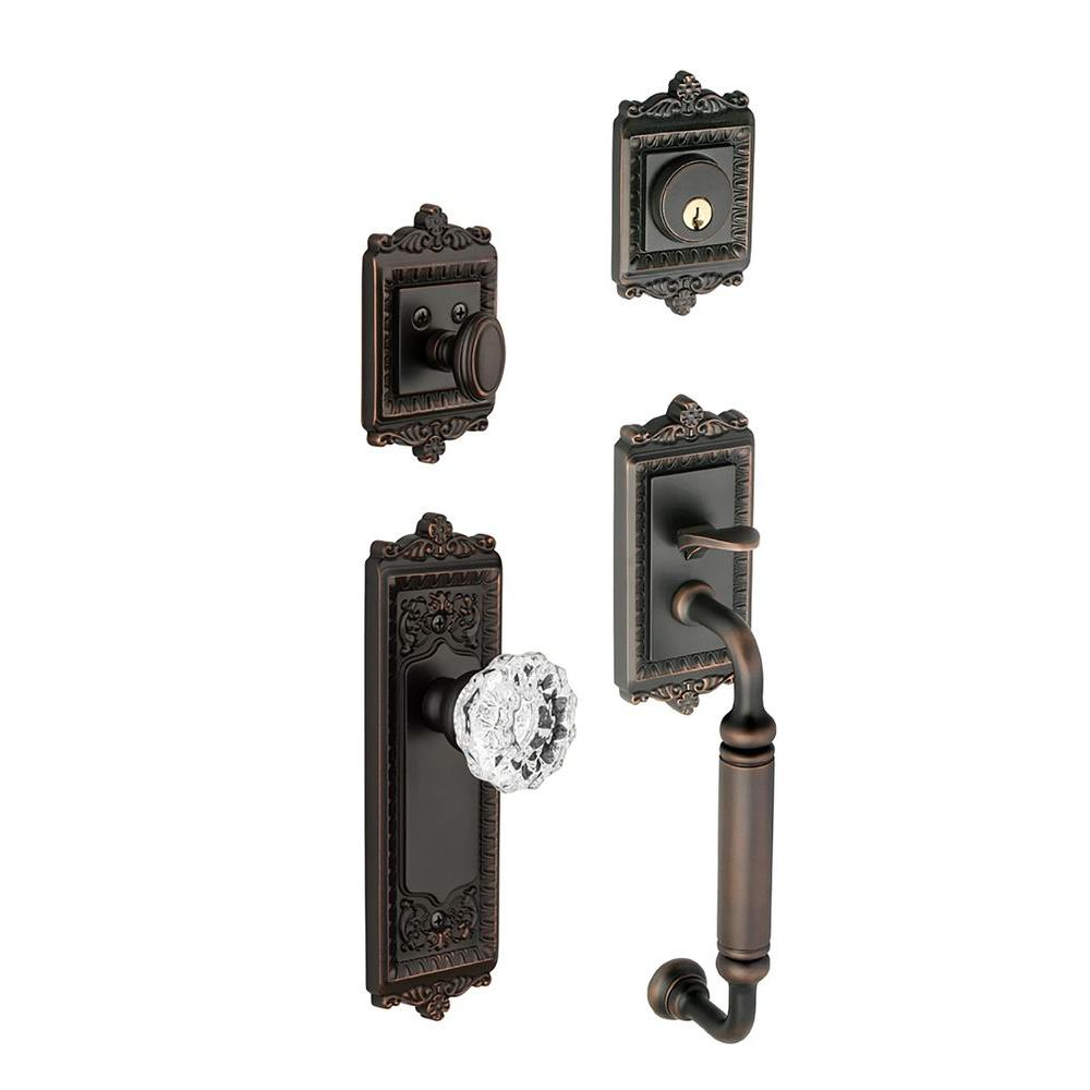 Grandeur Windsor Single Cylinder Timeless Bronze C-Grip Handleset with Fontainebleau Knob