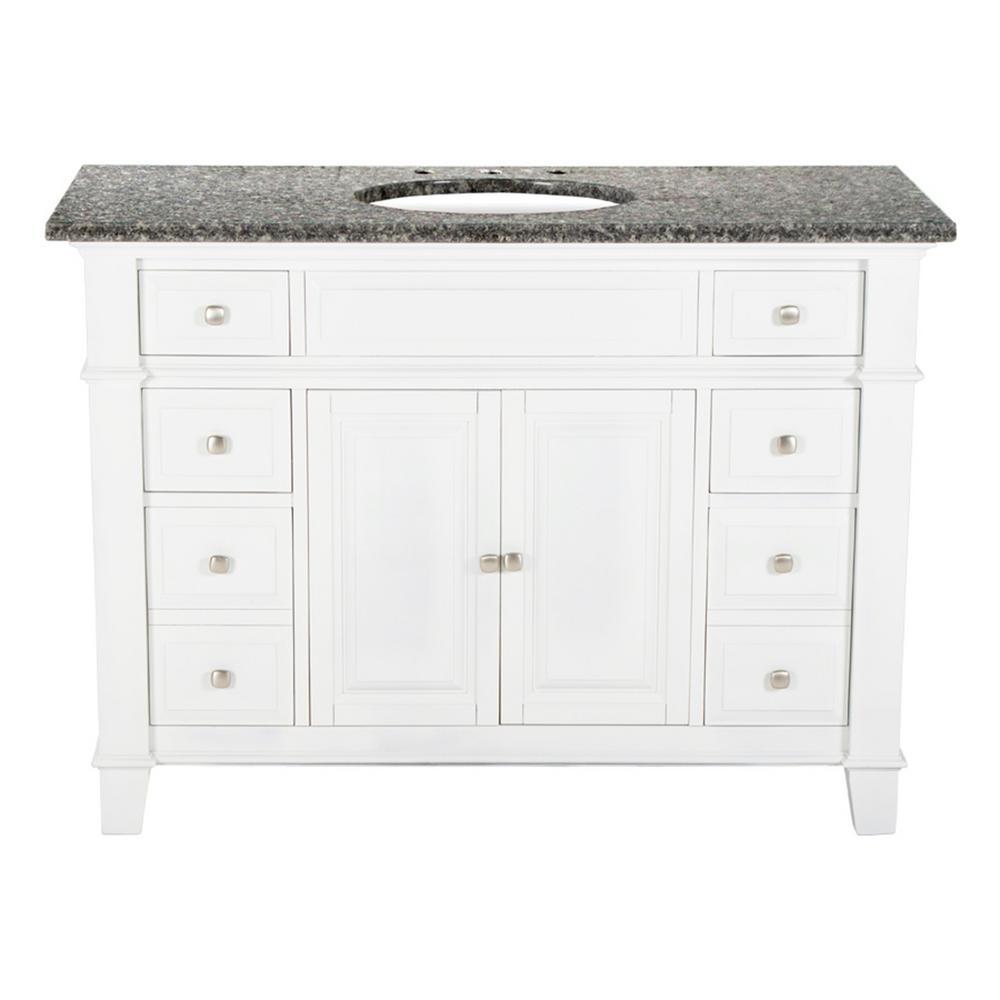 Hardwood Single Vanity Swiss White Granite Top Leopard
