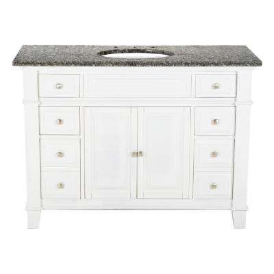 48 in. W x 23 in. D Solid Hardwood Single Vanity in Swiss White with Solid Granite Top in Leopard