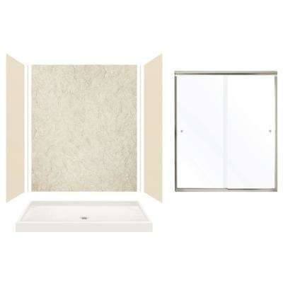 Expressions 32 in. x 60 in. x 72 in. Center Drain Alcove Shower Kit with Door in Bisque/Sea Fog and Nickel Hardware