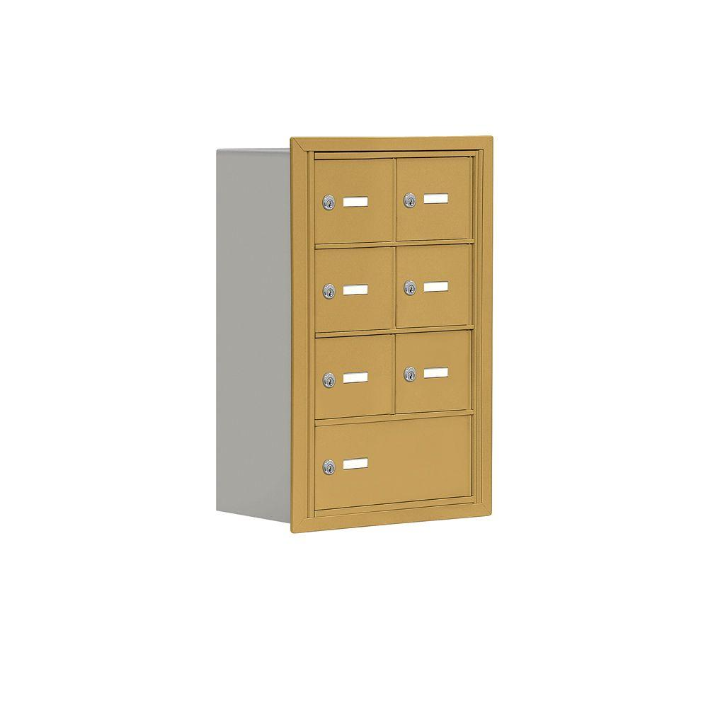 Salsbury Industries 19000 Series 17.5 in. W x 25.5 in. H x 8.75 in. D 6 A / 1 B Doors R-Mount Keyed Locks Cell Phone Locker in Gold