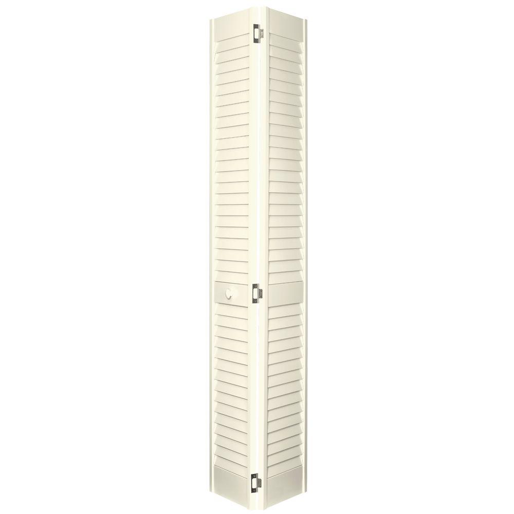 Home Fashion Technologies 30 in. x 80 in. 2 in. Louver/Louver Behr Antique White Solid Wood Interior Closet Bi-fold Door