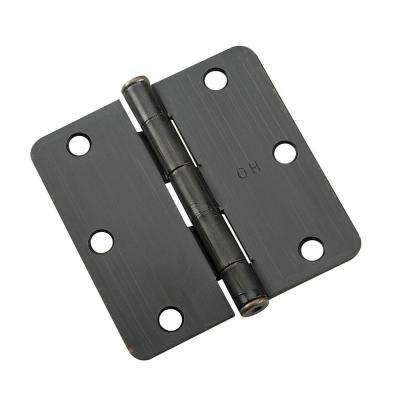 3 in. x 3 in. Oil-Rubbed Bronze Full Mortise Butt Hinge with 1/4 in. Radius