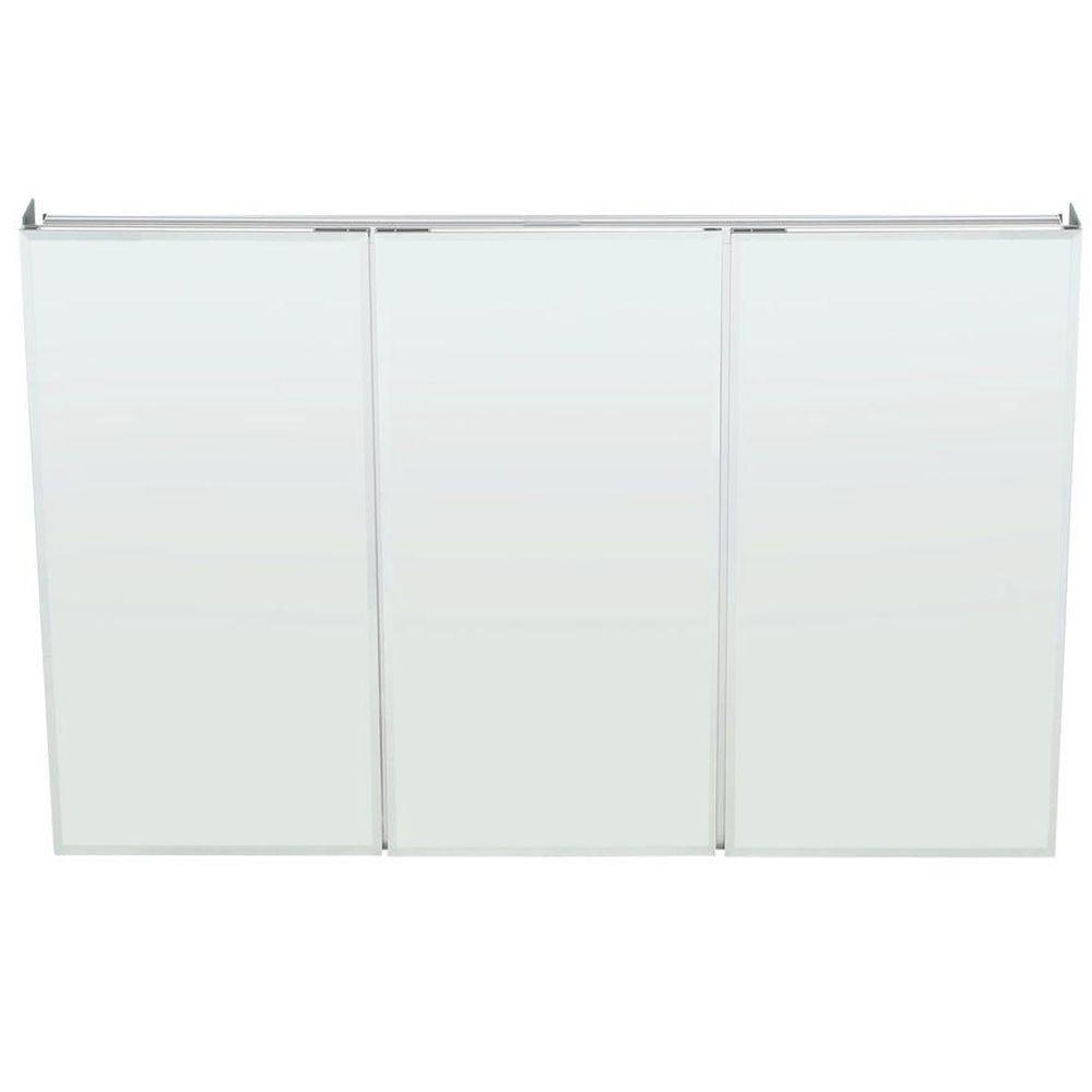 Home depot mirrors bathroom - 48 In W X 31 In H Frameless Recessed Or Surface Mount Tri