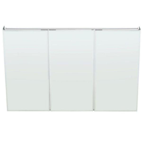 48 in. W x 31 in. H Frameless Recessed or Surface-Mount Tri-View Bathroom Medicine Cabinet with Beveled Mirror