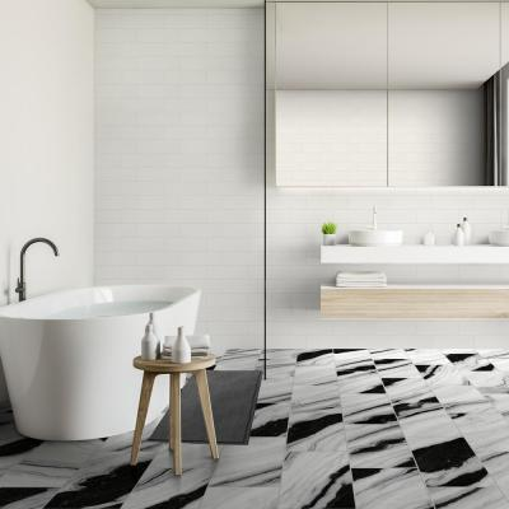QuicTile 12 in. x 24 in. Panda Marble Polished Porcelain Locking Floor Tile (9.6 sq. ft. / case)