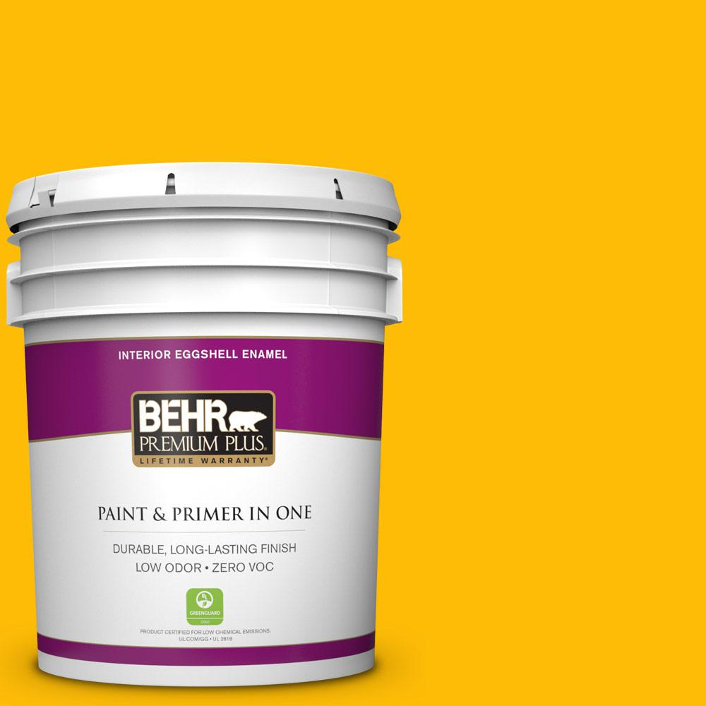 5 gal. #340B-7 Empire Yellow Zero VOC Eggshell Enamel Interior Paint