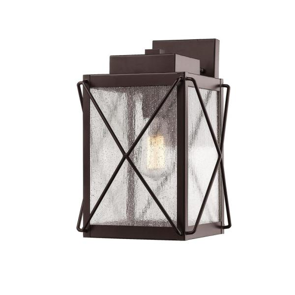 12 in. 1-Light Powder Coat Bronze Outdoor Wall-Light Sconce with Clear Glass