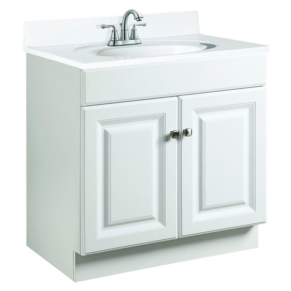 Design house wyndham 30 in w x 21 in d unassembled vanity cabinet only in white semi gloss for 30 x 21 bathroom vanity white