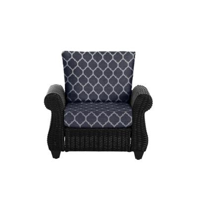 Mill Valley Brown Wicker Outdoor Patio Lounge Chair with CushionGuard Midnight Trellis Navy Blue Cushions
