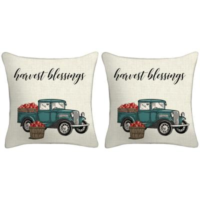 18 in. x 18 in. x 5 in. Harvest Truck Toss Pillows (Set of 2)
